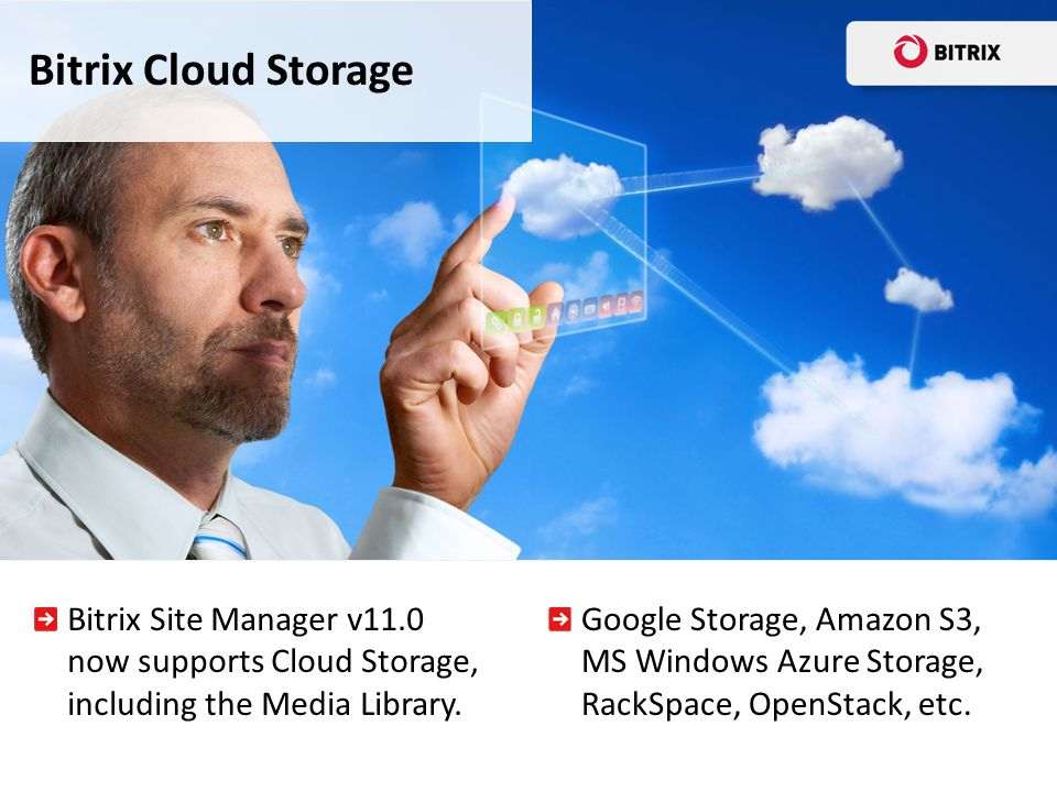 Bitrix Cloud Storage Bitrix Site Manager v11.0 now supports Cloud Storage, including the Media Library.