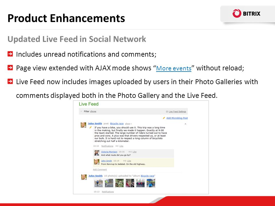 Product Enhancements Updated Live Feed in Social Network