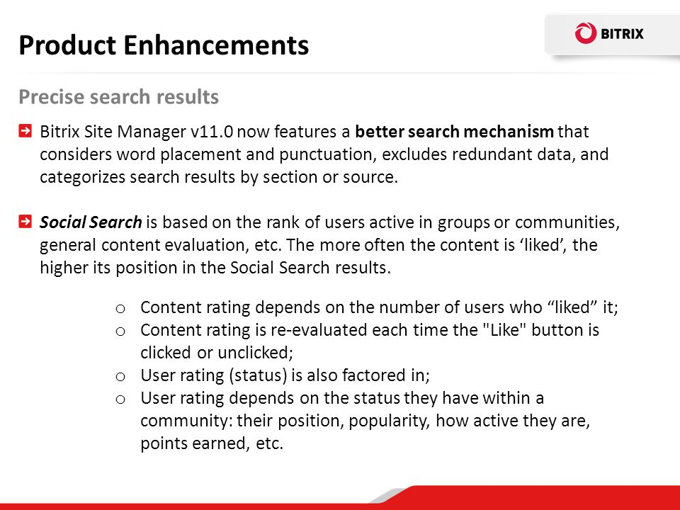 Product Enhancements Precise search results