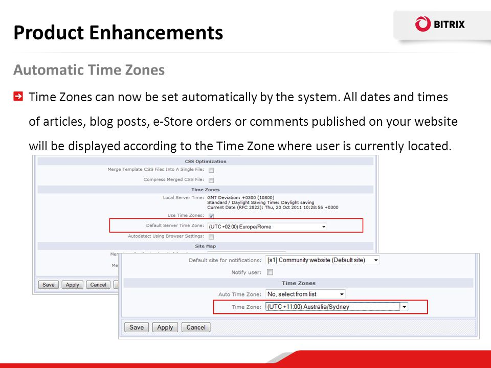 Product Enhancements Automatic Time Zones
