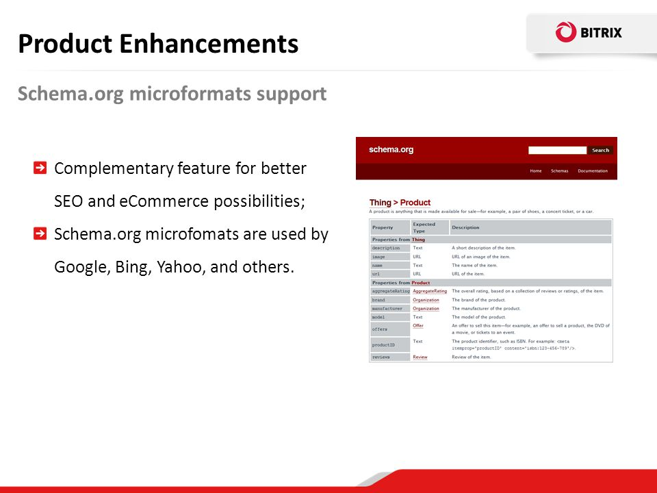 Product Enhancements Schema.org microformats support
