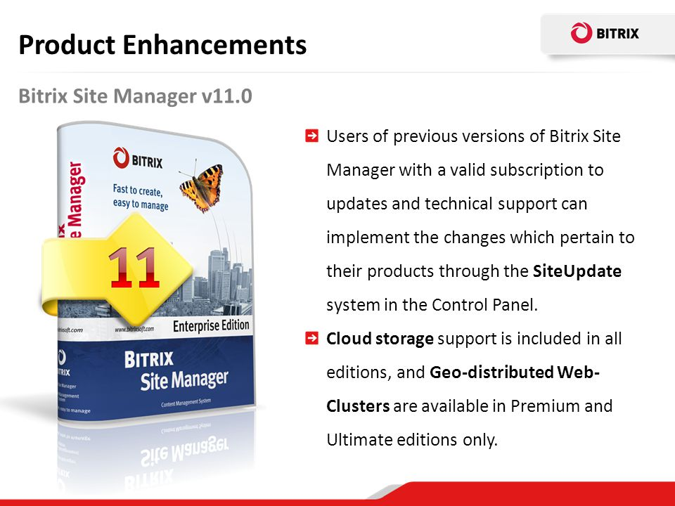 Product Enhancements Bitrix Site Manager v11.0
