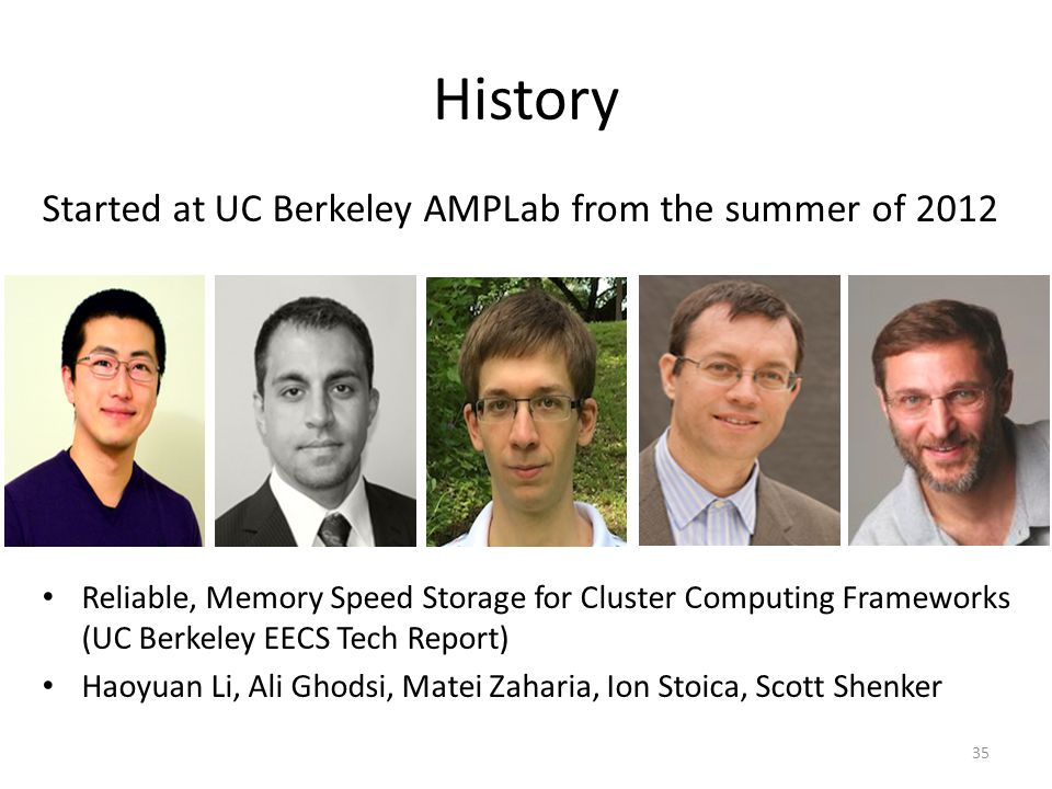 History Started at UC Berkeley AMPLab from the summer of 2012