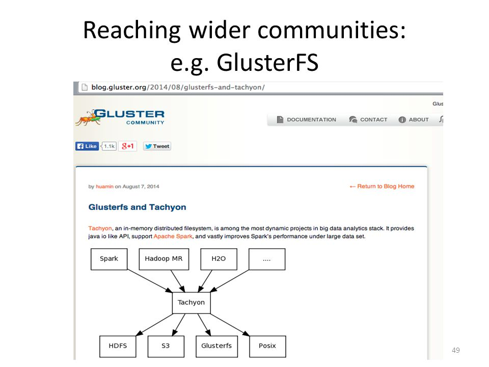 Reaching wider communities: e.g. GlusterFS