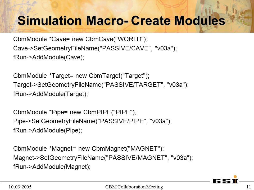 Simulation Macro- Create Modules