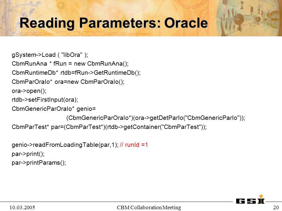 Reading Parameters: Oracle