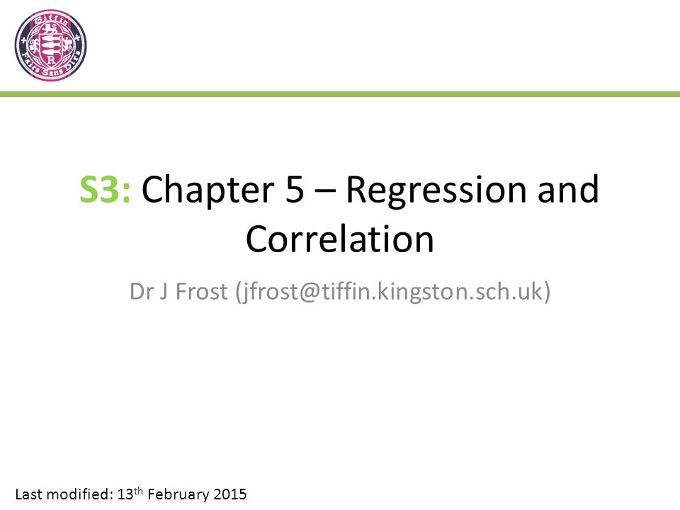 S3: Chapter 5 – Regression and Correlation