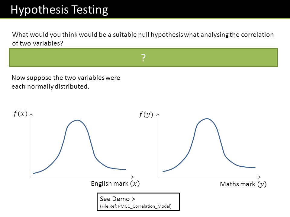 Hypothesis Testing What would you think would be a suitable null hypothesis what analysing the correlation of two variables