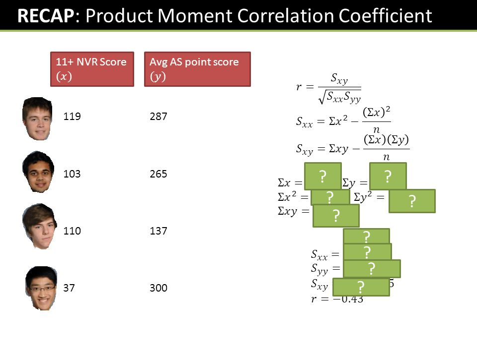 RECAP: Product Moment Correlation Coefficient