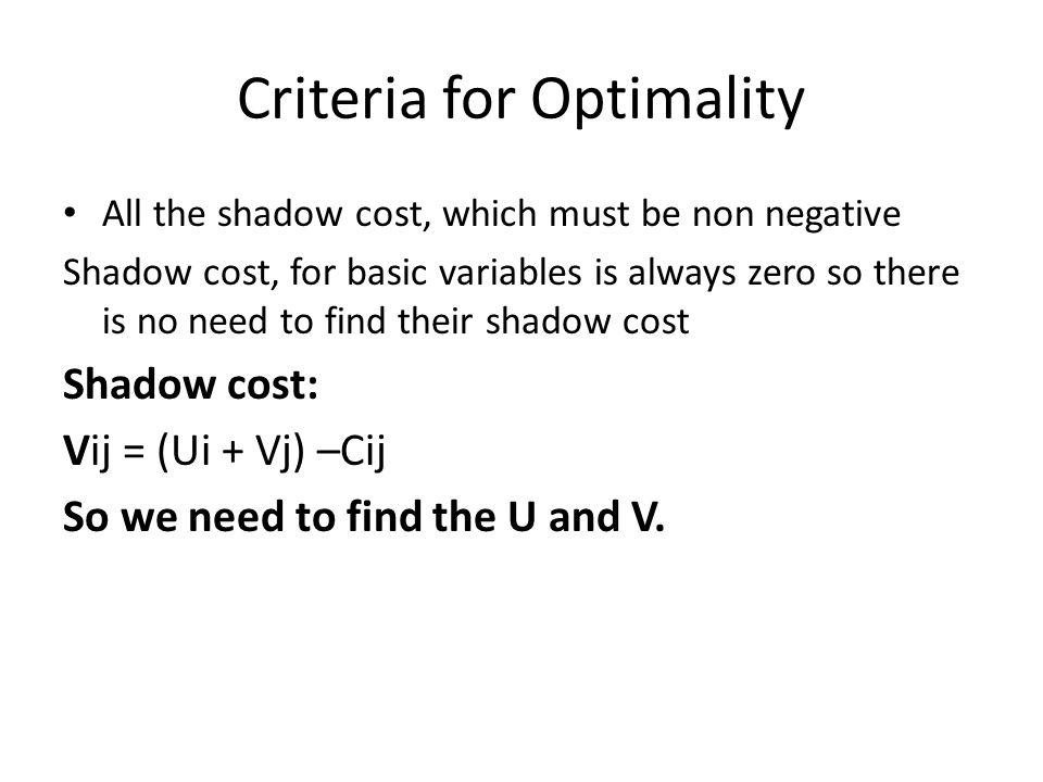 Criteria for Optimality