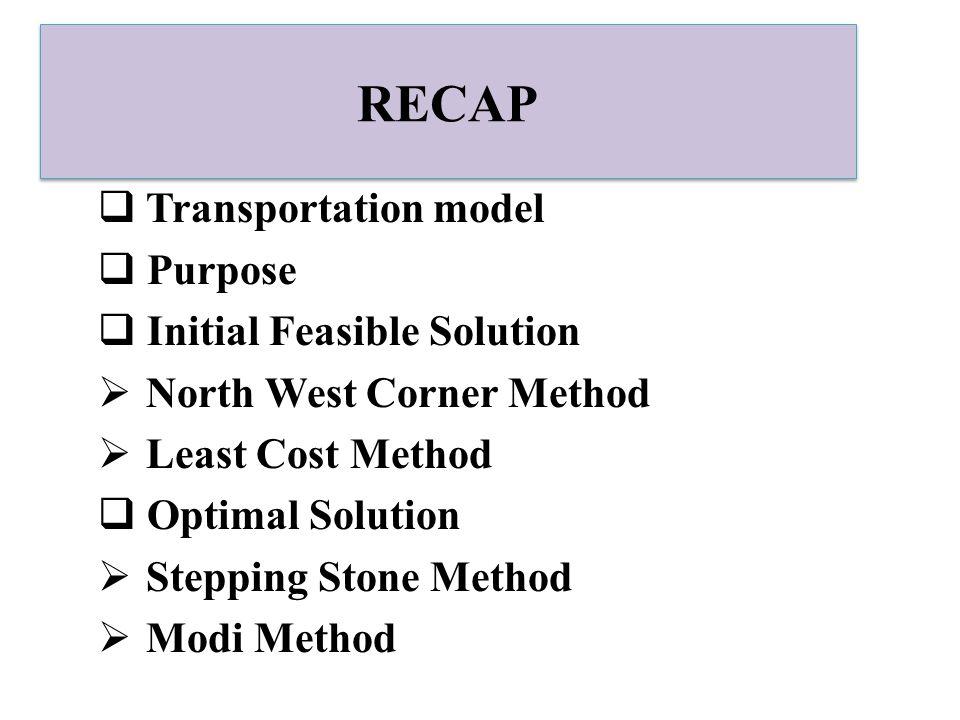 RECAP Transportation model Purpose Initial Feasible Solution