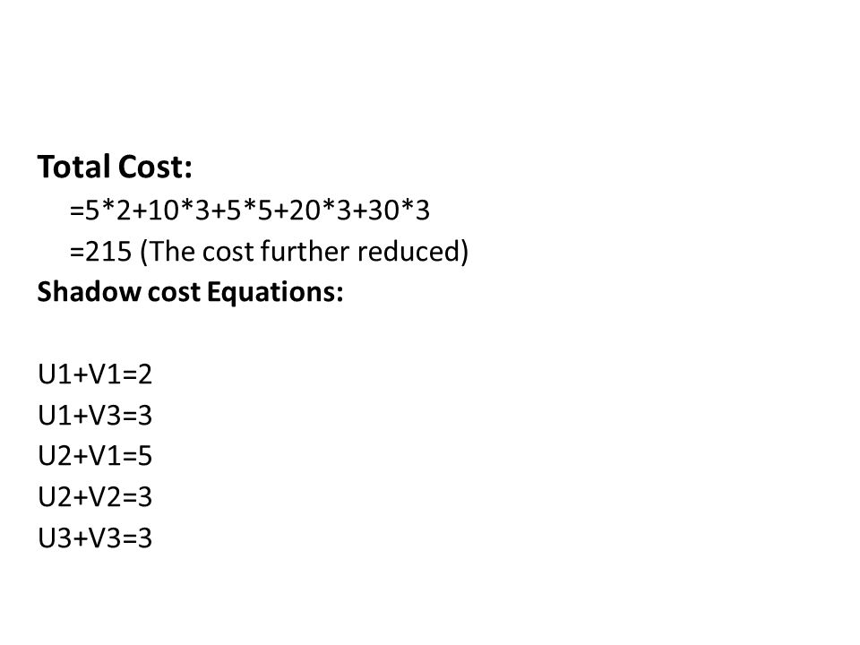 Total Cost: =5*2+10*3+5*5+20*3+30*3 =215 (The cost further reduced)