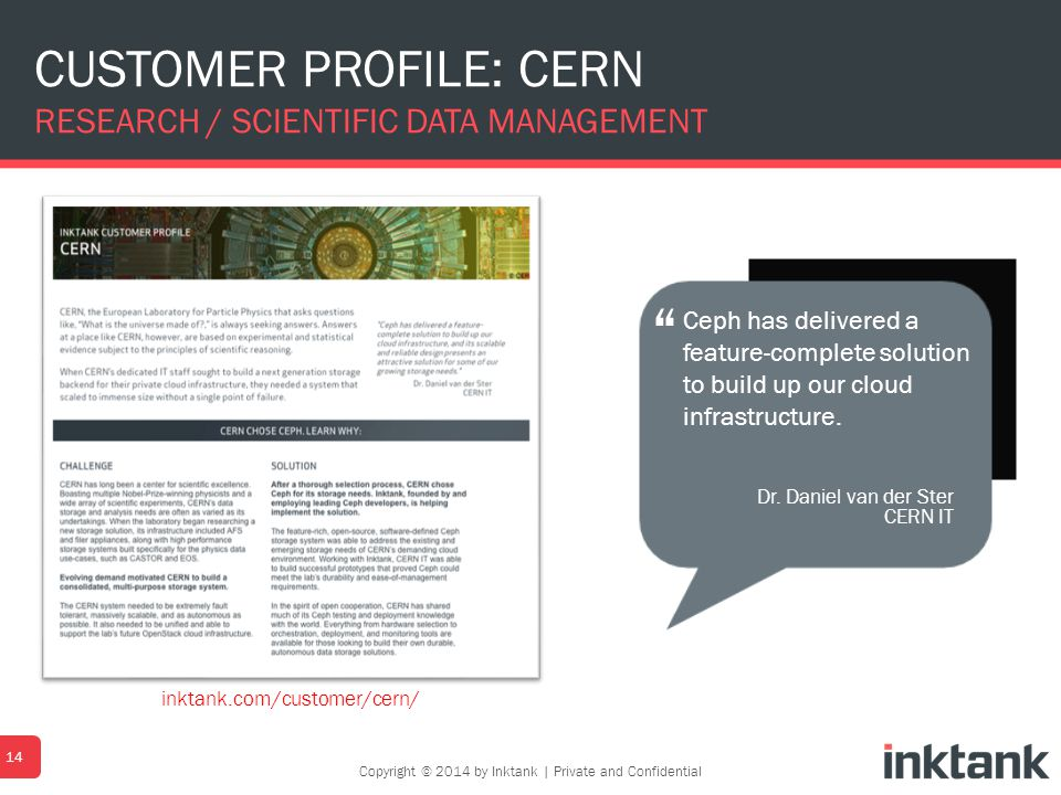 CUSTOMER PROFILE: CERN RESEARCH / SCIENTIFIC DATA MANAGEMENT