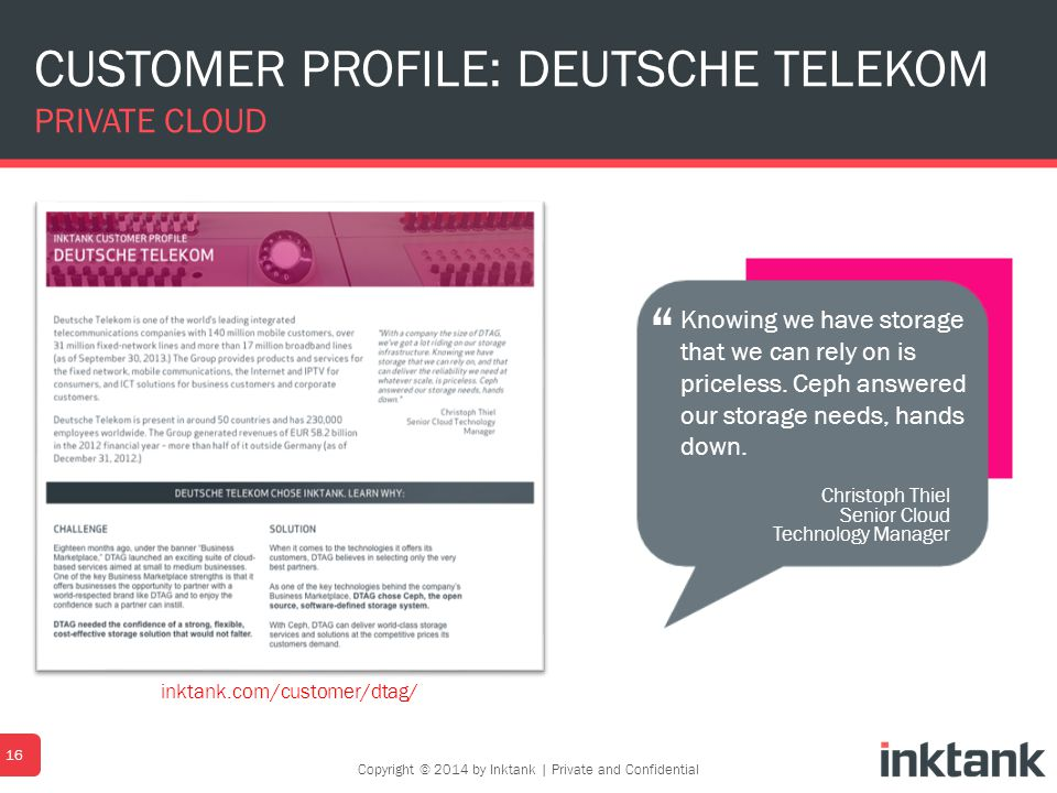 CUSTOMER PROFILE: DEUTSCHE TELEKOM PRIVATE CLOUD