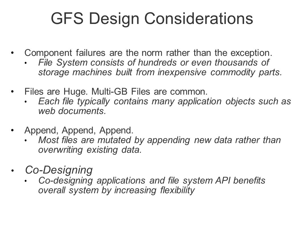 GFS Design Considerations