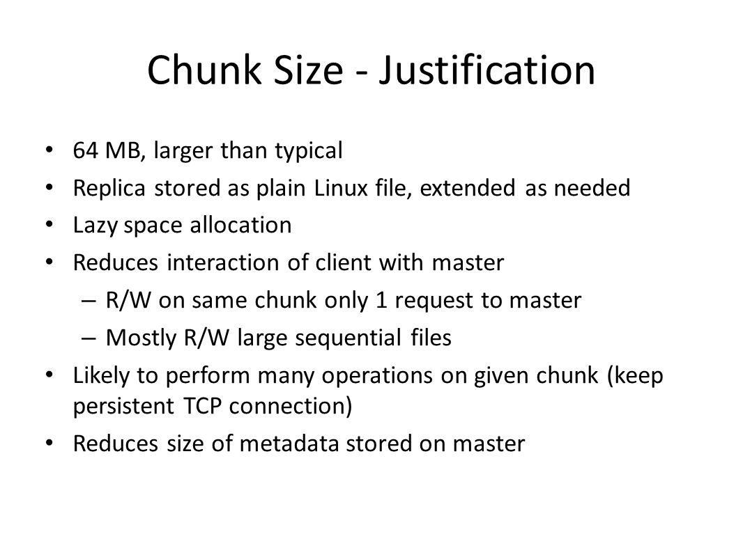 Chunk Size - Justification