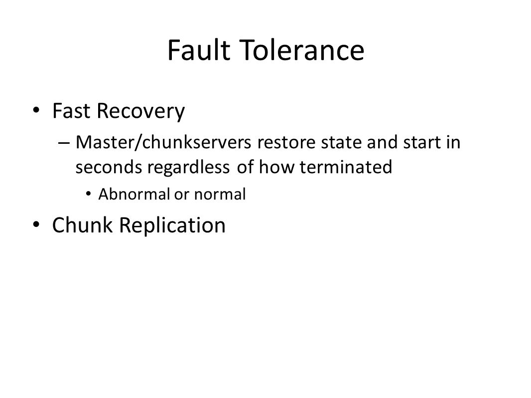Fault Tolerance Fast Recovery Chunk Replication