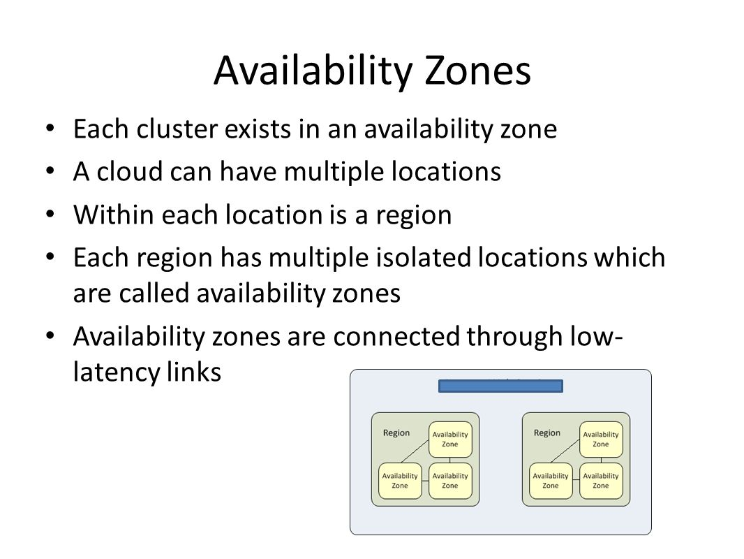 Availability Zones Each cluster exists in an availability zone
