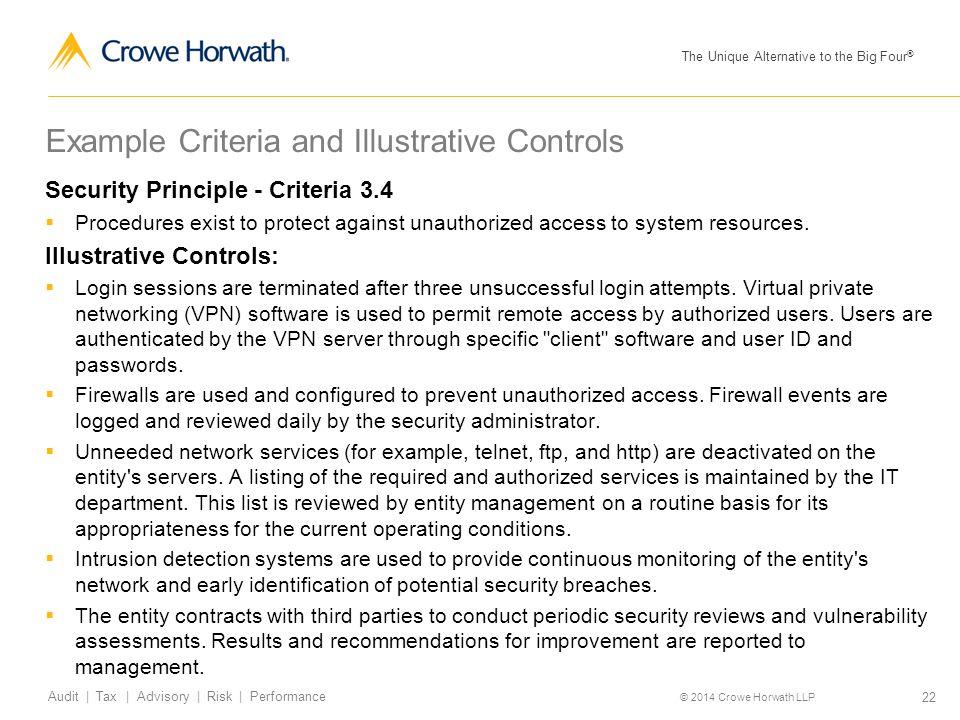 Example Criteria and Illustrative Controls