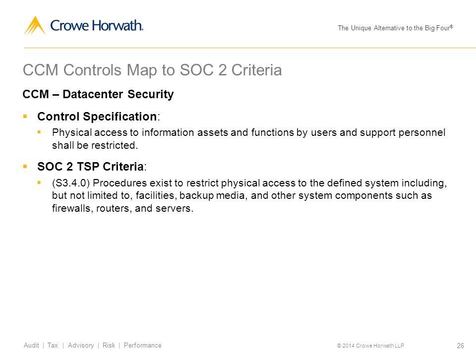 CCM Controls Map to SOC 2 Criteria