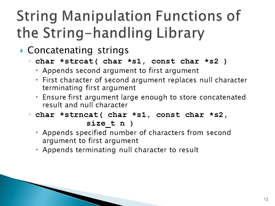 String Manipulation Functions of the String-handling Library