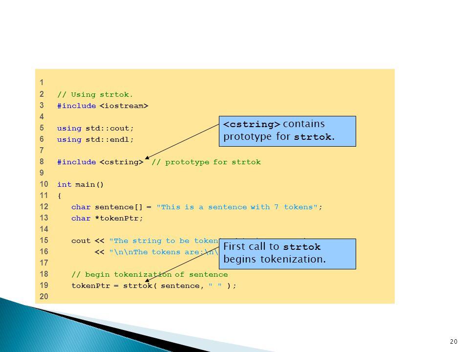 <cstring> contains prototype for strtok.
