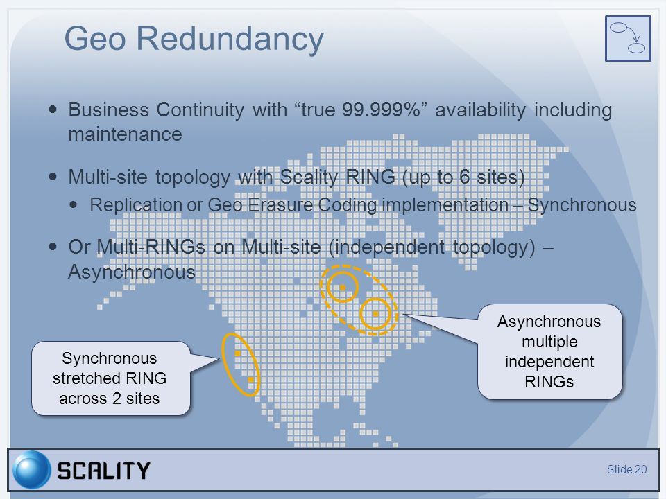 Geo Redundancy Business Continuity with true 99.999% availability including maintenance. Multi-site topology with Scality RING (up to 6 sites)