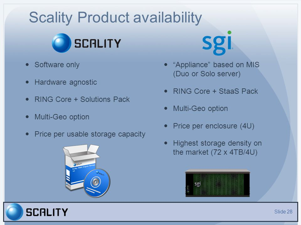 Scality Product availability