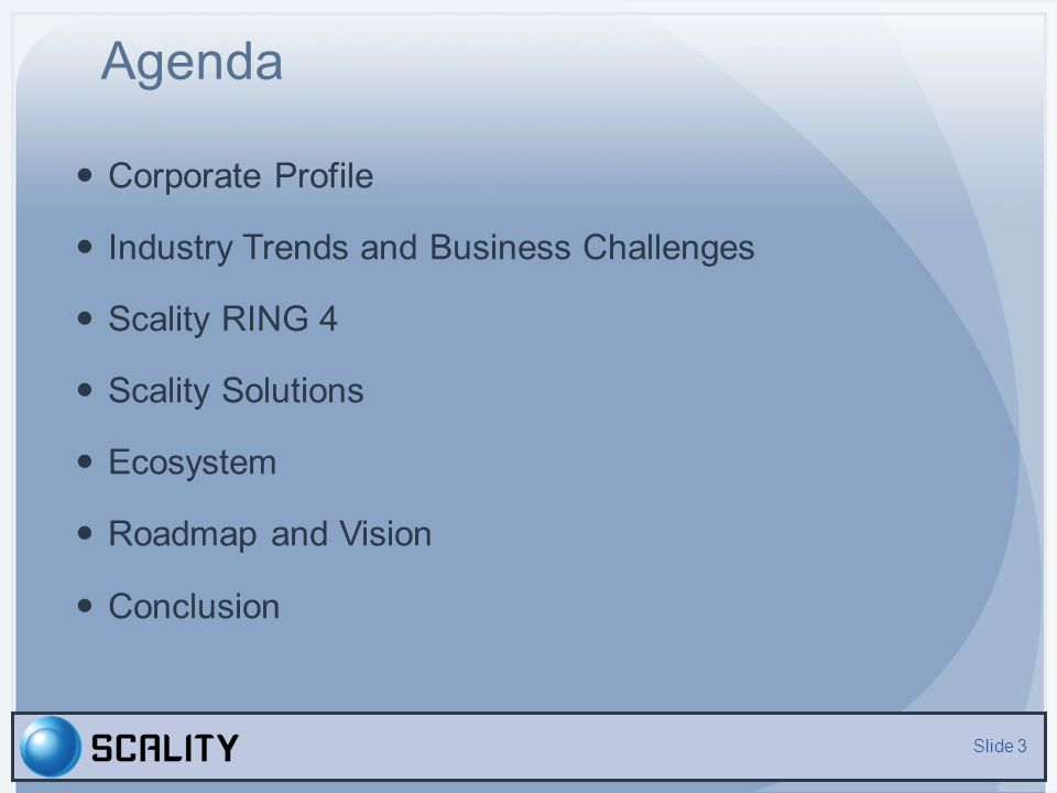 Agenda Corporate Profile Industry Trends and Business Challenges