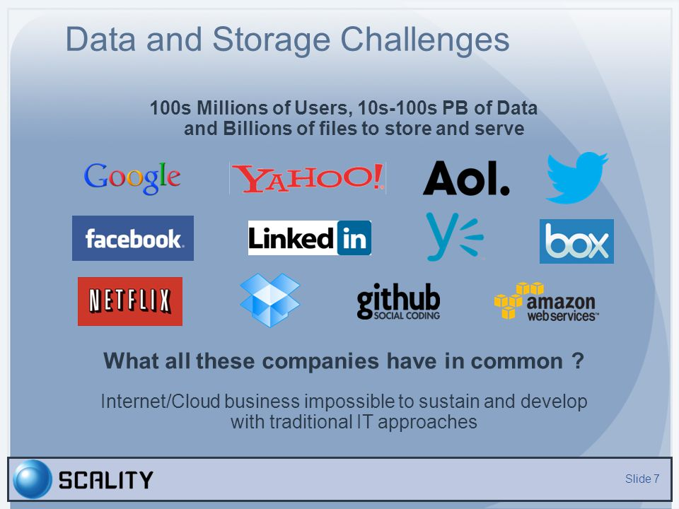 Data and Storage Challenges
