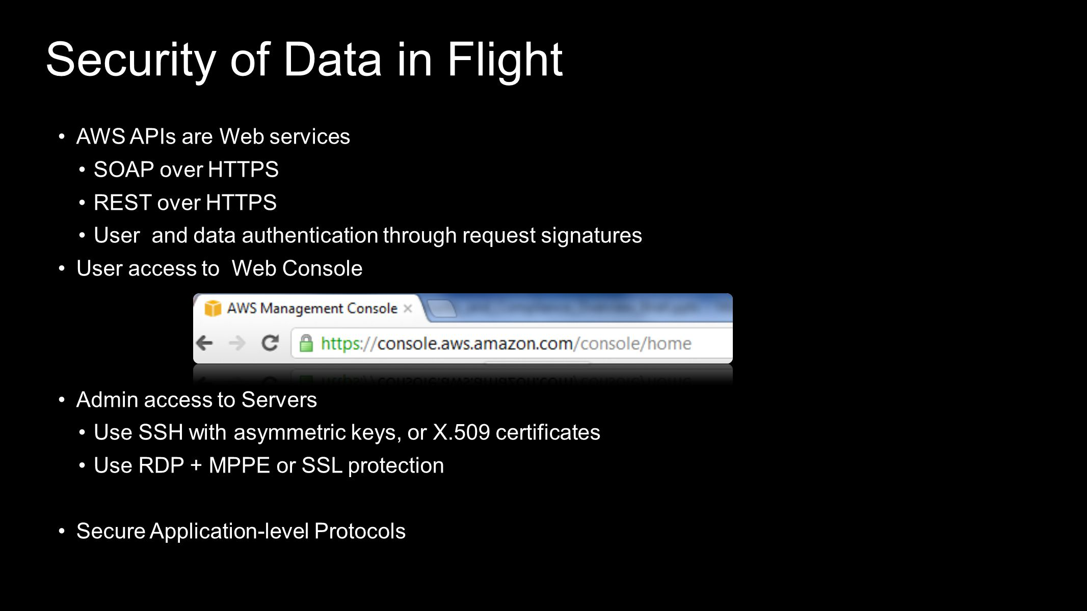 Security of Data in Flight