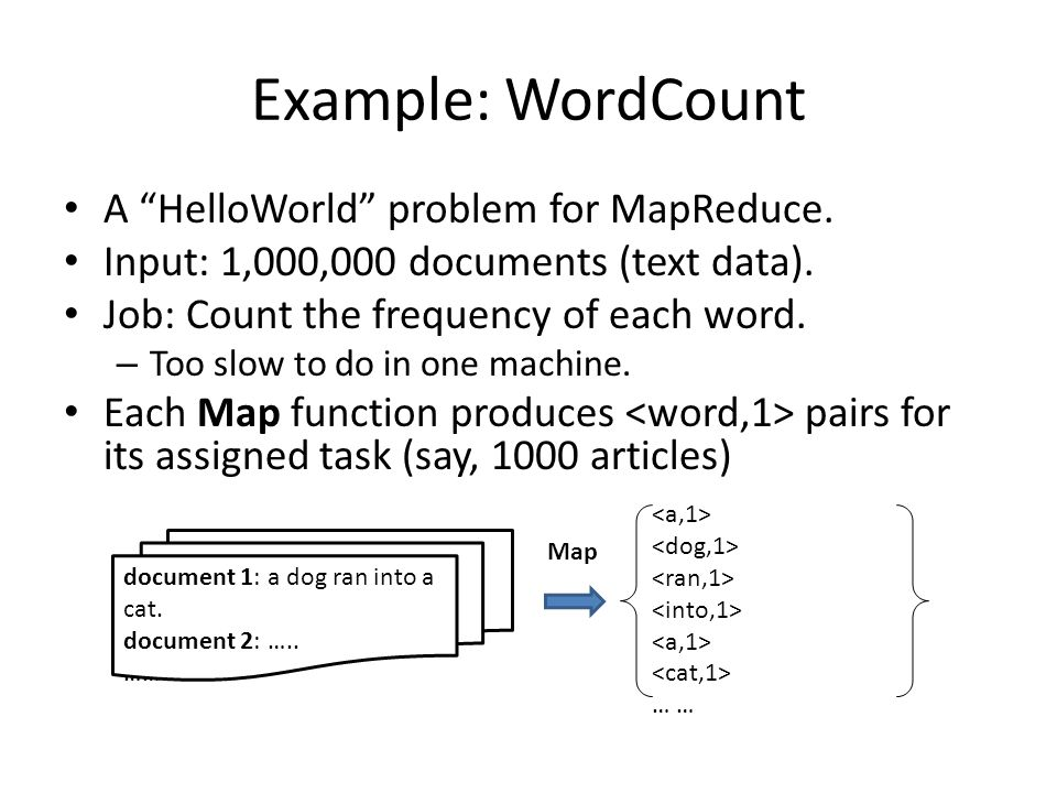 Example: WordCount A HelloWorld problem for MapReduce.
