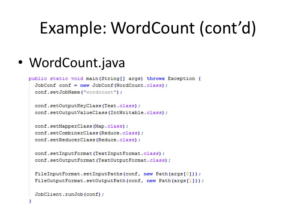 Example: WordCount (cont'd)