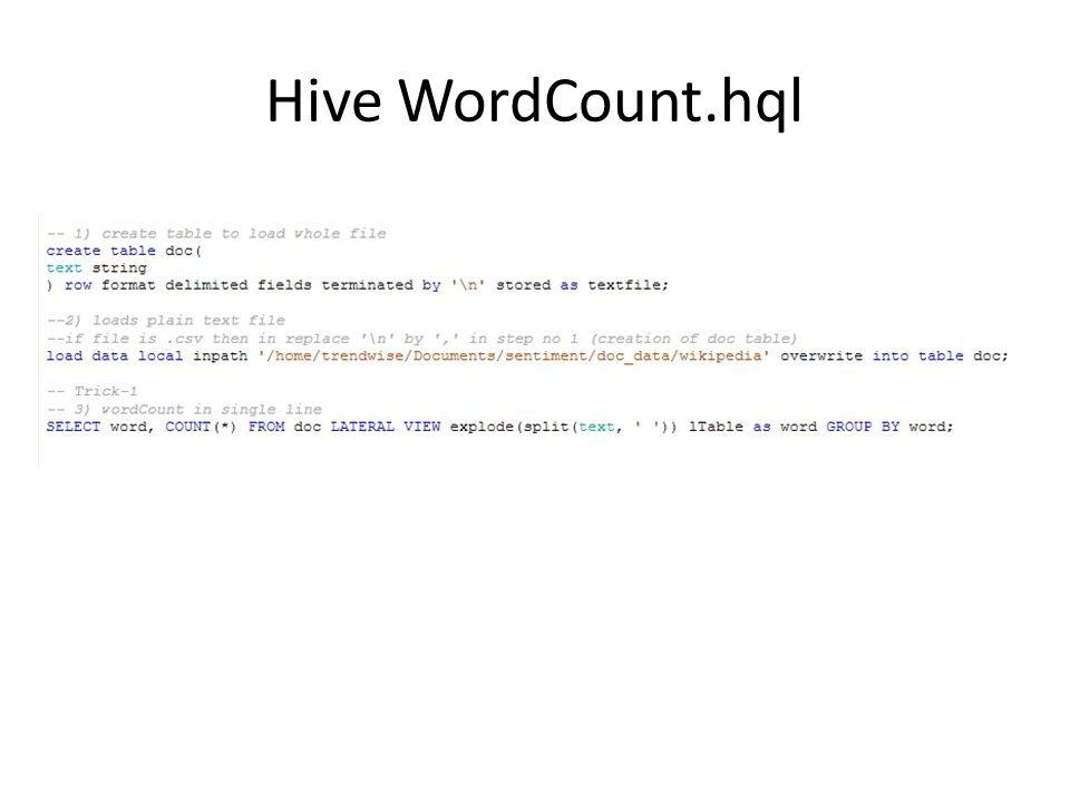 Hive WordCount.hql