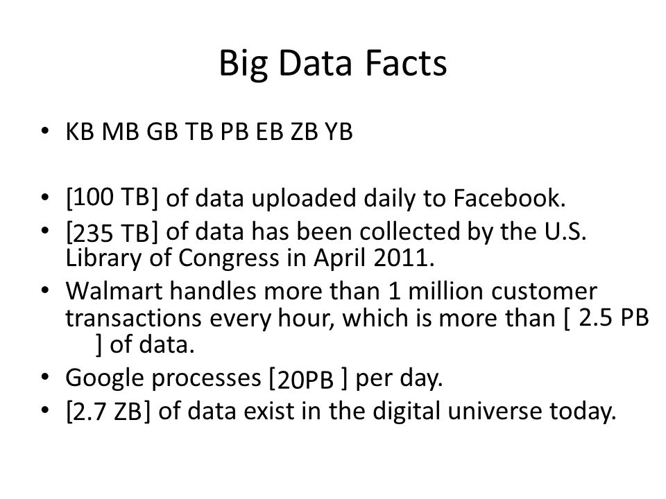 Big Data Facts KB MB GB TB PB EB ZB YB