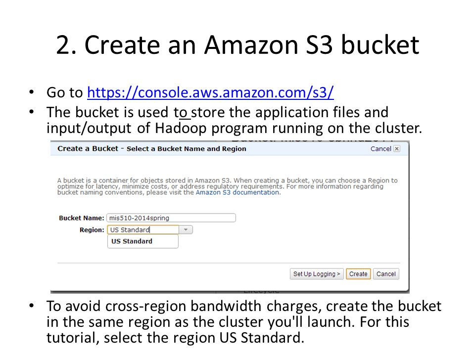 2. Create an Amazon S3 bucket