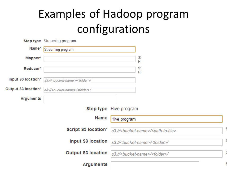 Examples of Hadoop program configurations