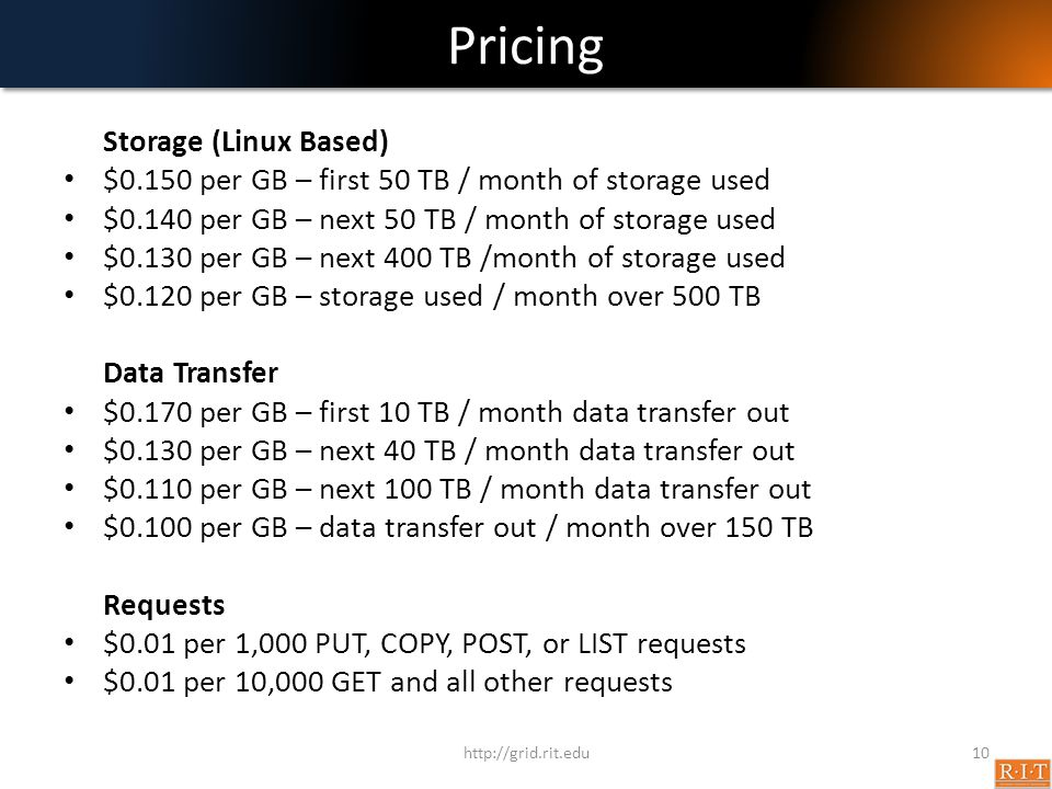 Pricing Storage (Linux Based)