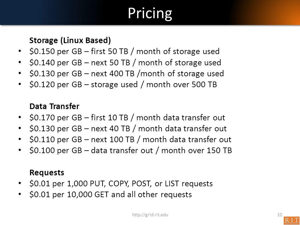 Pricing Storage (Linux Based)