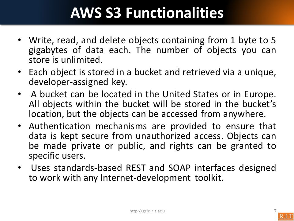 AWS S3 Functionalities
