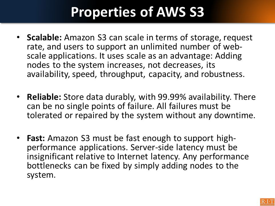 Properties of AWS S3