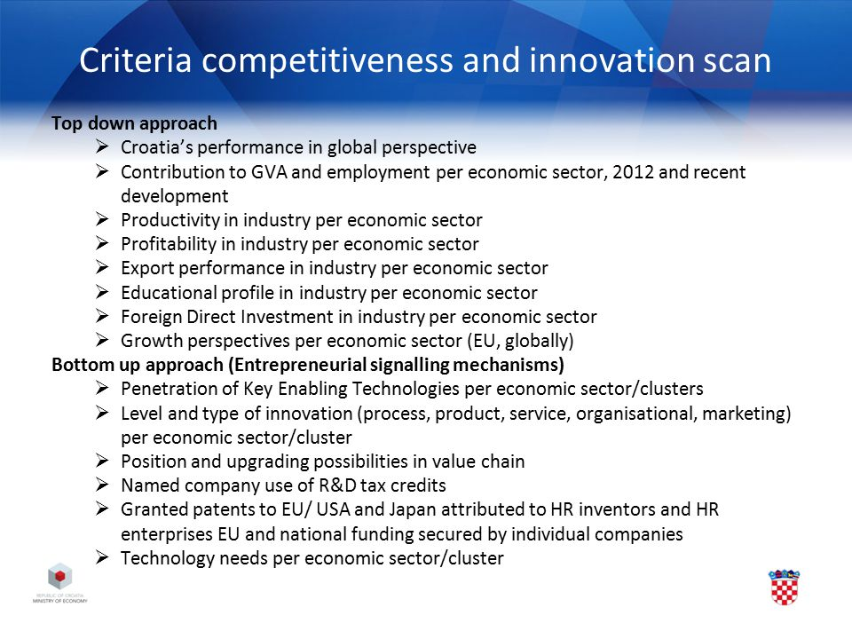 Criteria competitiveness and innovation scan