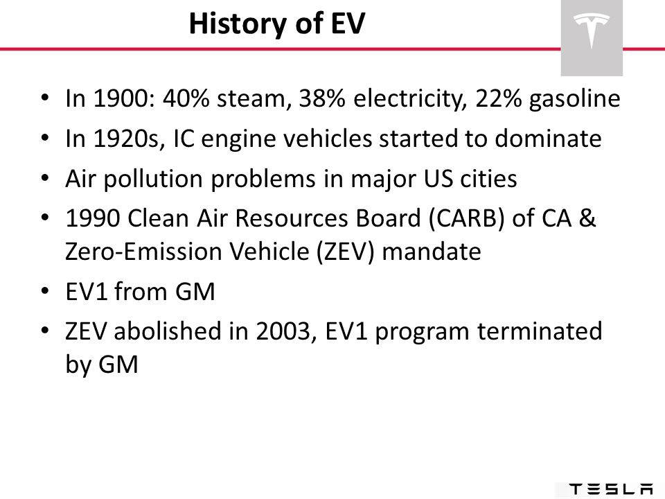 History of EV In 1900: 40% steam, 38% electricity, 22% gasoline