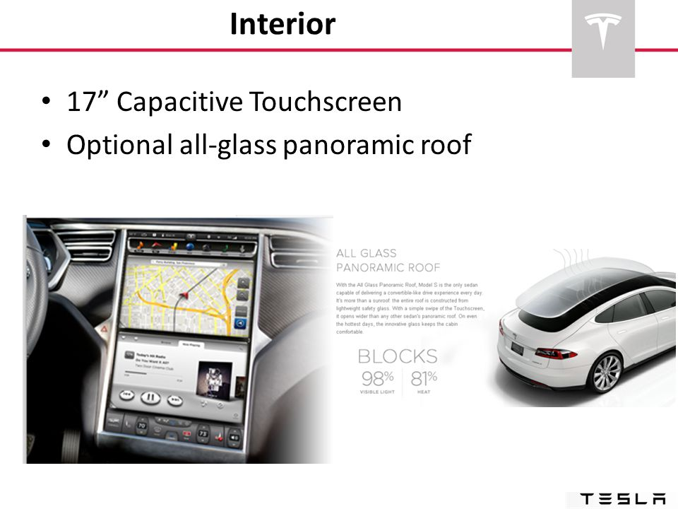 Interior 17 Capacitive Touchscreen Optional all-glass panoramic roof