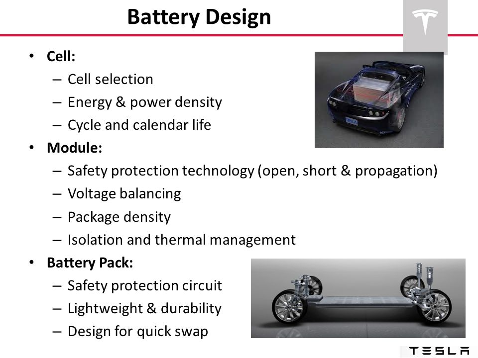 Battery Design Cell: Cell selection Energy & power density
