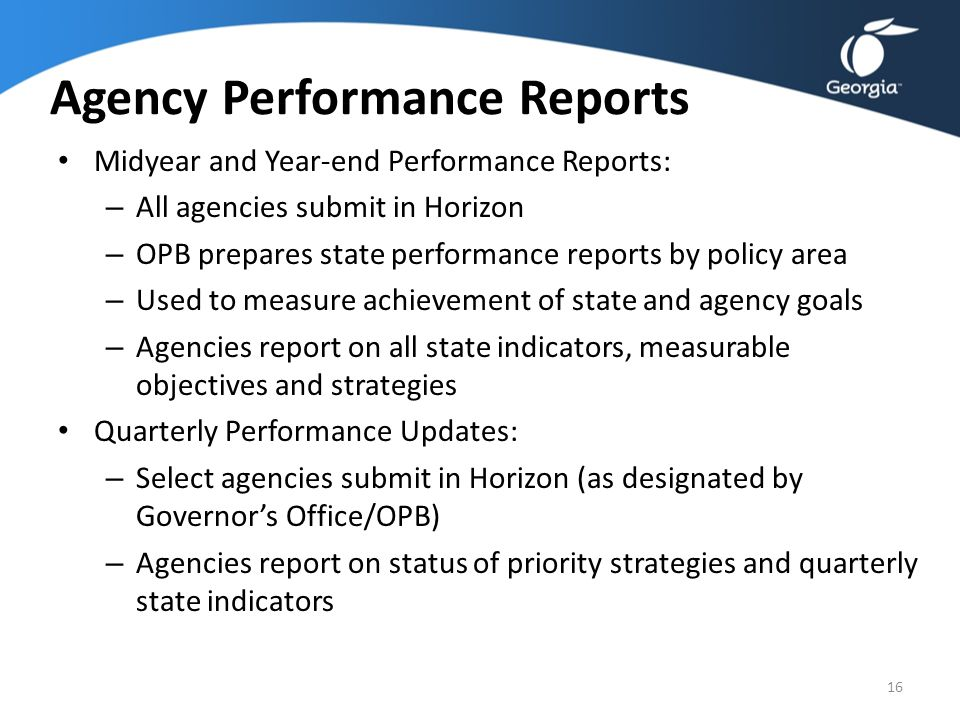 Agency Performance Reports
