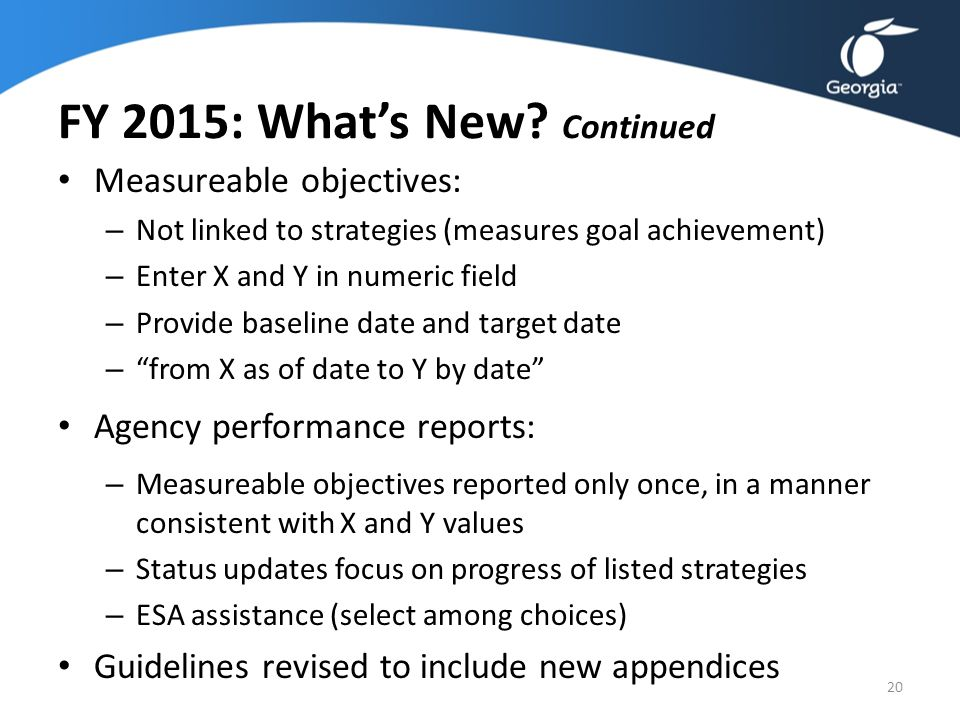 FY 2015: What's New Continued