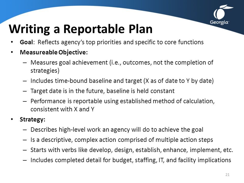 Writing a Reportable Plan