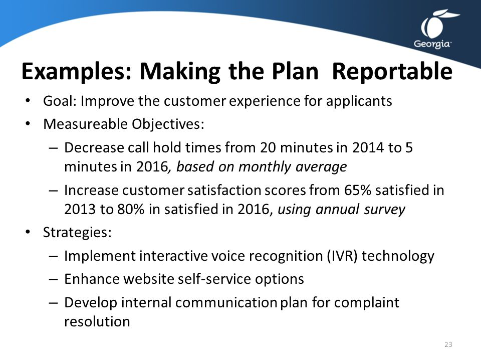 Examples: Making the Plan Reportable