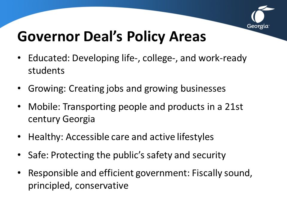 Governor Deal's Policy Areas